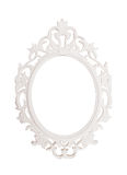 Ancient vintage natural round picture frame with leaves design white ornament texture isolated background for scrapbook album Stock Photography