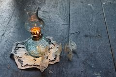 Ancient vintage oil lamp royalty free stock photography