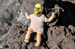 Ancient Vintage Old Doll with Human Skull Stock Photos