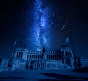 Ancient Vittorio Emanuele II with falling stars, Rome, Italy royalty free stock photo