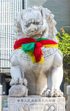 Ancient vivid stone lion on the bridge. Royalty Free Stock Image