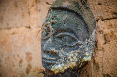 Ancient voodoo fetish sculptures used in this traditional African belief by the local fetish priest Stock Image