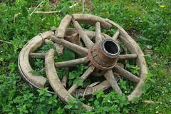 Ancient wain wheels. From an old farmstead in Apuseni mountains from Romania Stock Photography