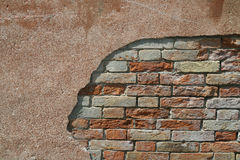 Ancient wall. With bricks and daub Royalty Free Stock Photo