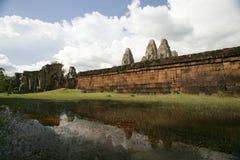 Ancient wall. Ancient brick wall around temple of Angkor Royalty Free Stock Photo