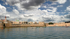 Ancient wall of Acre, Israel. View on ancient walls, houses and mosques in old town of Acre (Akko) in Israel Stock Images