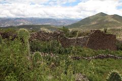 Ancient wall built by Wari people and countryside landscape Royalty Free Stock Photos