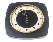 Five to twelve, time on vintage clock. Isolated from background Royalty Free Stock Images