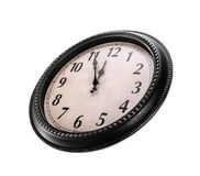 Ancient wall clock on a white background. Royalty Free Stock Image