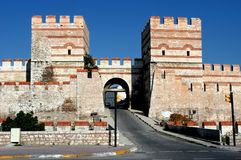 Ancient wall in Constantinople, Istanbul. Entrance is dedicated to the city of Belgrade Royalty Free Stock Photography