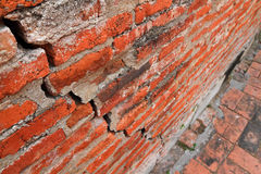 Ancient wall cracked. Ancient brick wall of ratchaburana temple cracked,Thailand Royalty Free Stock Photos
