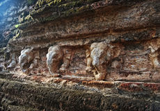 Ancient wall with elephants, Polonnaruwa, Sri Lanka Stock Photo