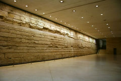 Ancient wall in hall. Under Louvre museum Royalty Free Stock Images