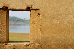 Ancient wall at jedi krang nam with out view Stock Images