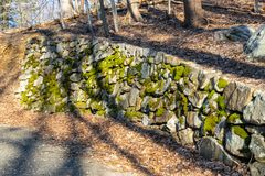 An ancient wall made of moss-covered stones alongside a small forest path royalty free stock photos