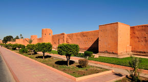 Ancient wall of Marrakech. Old walls of the Medina in Marrakech - Morocco Stock Photo