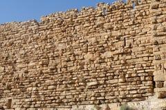 Ancient wall of medieval Kerak castle in Jordan Royalty Free Stock Photo