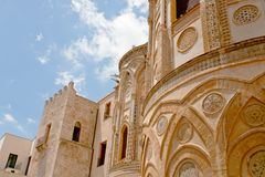 Ancient wall of norman style Duomo di Monreale Royalty Free Stock Images