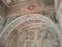 Ancient wall painting in Malpaga Castle Royalty Free Stock Image