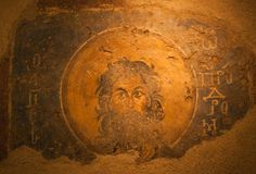 Ancient wall painting with Saint John the baptist Stock Images