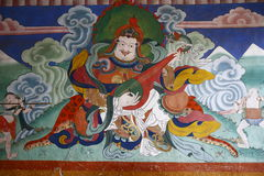 Ancient wall painting in the Tashichho Dzong Royalty Free Stock Images