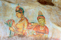 Ancient wall paintings of cloudy maidens, Sri Lanka Royalty Free Stock Photo