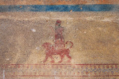The ancient wall-paintings at Erebuni Fortress (Armenia). Erebuni Fortress (also known as Arin Berd -Fortress of Blood) is an Urartian fortified city, located in royalty free stock photo
