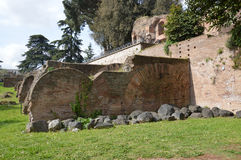 Ancient wall on Palatine Hill Stock Photos