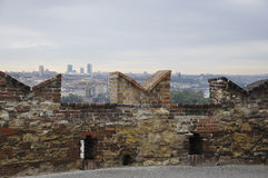 Ancient Wall of Prague capital in Czech Republic Stock Image