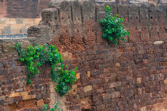 Ancient wall of a protection of the temple, India Royalty Free Stock Photos
