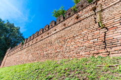 Ancient wall from red brick Stock Photos