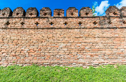 Ancient wall from red brick Stock Photo