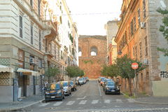 Ancient wall from red bricks in Rome, Italy Stock Images