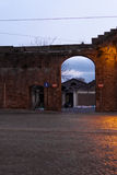 Ancient wall in rome. Porta portese entrance at night in rome, italy Stock Images