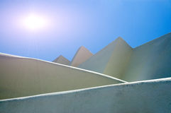 The ancient wall on the Santorini island. Over blue sky stock photography