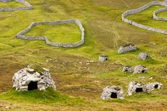 Cleits at St Kilda, Outer Hebrides, Scotland. Ancient wall structures and shelters i.e.; ` cleits` at the remote archipelago of St Kilda, Outer Hebrides royalty free stock photo