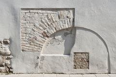 Ancient wall in Vilnius Old Town. On sunny day stock image