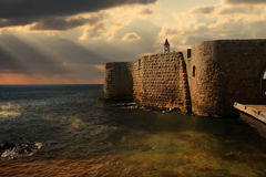 Ancient walls of Acre, Israel. Royalty Free Stock Photography