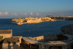 Ancient of Valetta fortification in late afternoon lights Royalty Free Stock Photography