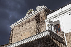 Ancient walls of the  Carmen Bajo church, Quito. Stock Photo