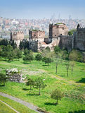 Ancient walls of Constantinople. In suburb of Blachernae (Istanbul, Turkey Royalty Free Stock Photos