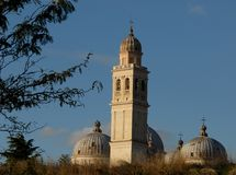 Ancient walls, domes and bell tower of Santa Giustina in Padua in Veneto (Italy) Royalty Free Stock Photography