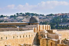 The ancient walls of Jerusalem, lit morning sun. Royalty Free Stock Photos