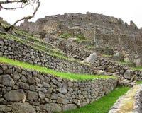 Ancient walls Machu Picchu Peru. Ancient stepped walls at Machu Picchu Peru Royalty Free Stock Images