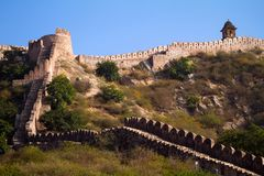 Ancient walls near Amber Fort. Jaipur Stock Image