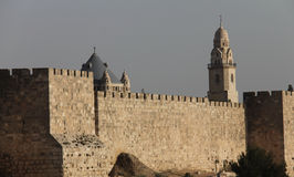 Ancient walls of old city Jerusalem Royalty Free Stock Image