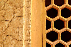 Ancient Walls, Old Delhi, India. Details of antique wall and stone carved window screen Stock Photo
