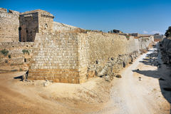 Ancient walls -  Rhodes Island Castle Royalty Free Stock Image