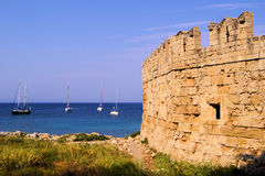 Ancient walls of Rhodes Old Town Royalty Free Stock Photography