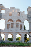 Ancient Walls of Roman amphitheater Colosseum in Pula Royalty Free Stock Image